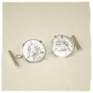 Silver threepenny cufflinks