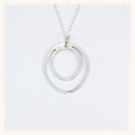 Twin oval silver pendant