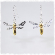 Silver bee earrings with gold abdomen