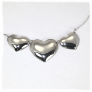 Three heart sterling necklace