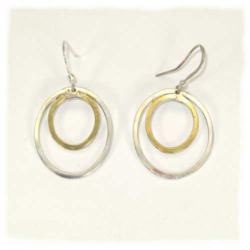 Twin oval part gold plated earrings